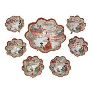Vintage Japanese Kutani Porcelain Serving Bowls - Set of 7 For Sale