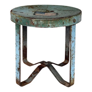 Vintage Rustic Farmhouse Aluminum Metal Low Milking Stool For Sale