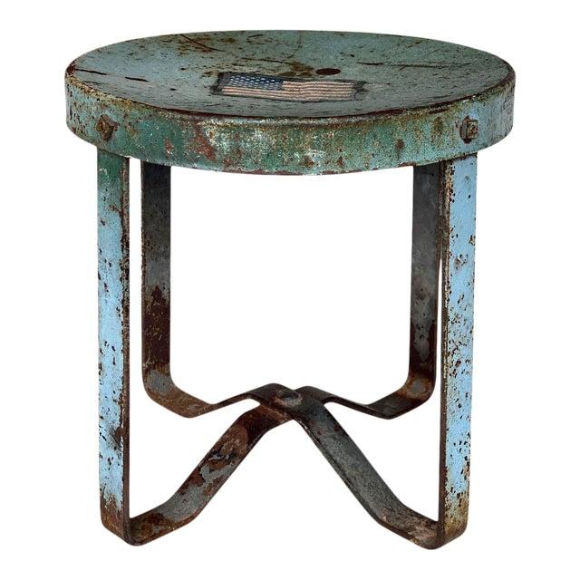 Vintage Rustic Farmhouse Aluminum Metal Low Milking Stool For Sale