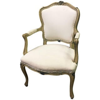 1930s Vintage Louis XVI Style Carved Mahogany Armchair For Sale