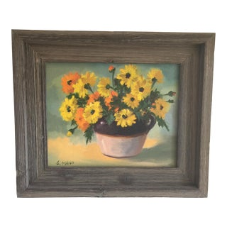 Vintage Rustic Floral Painting For Sale