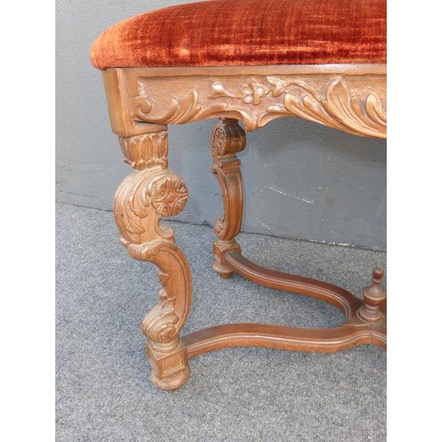 Antique Ornate Carved Orange Velvet Bench - Image 6 of 10