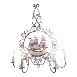 Mid-20th Century French Painted Iron 6-Light Sailboat Chandelier For Sale