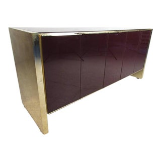 Stylish Vintage Modern Glass Front Server by Ello Furniture For Sale