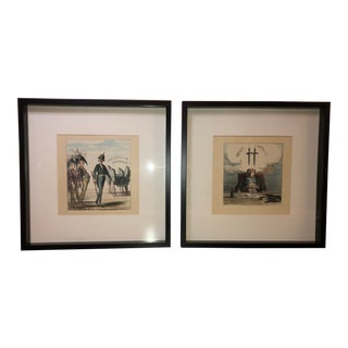 Antique French Political Cartoons, Framed - a Pair For Sale
