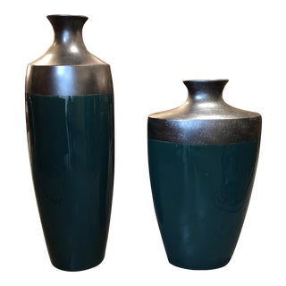 Decorative Emerald Green Over Sized Vessels - a Pair