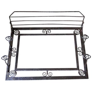 1930 French Wrought Iron and Mirror Art Deco Coat / Hat Rack For Sale