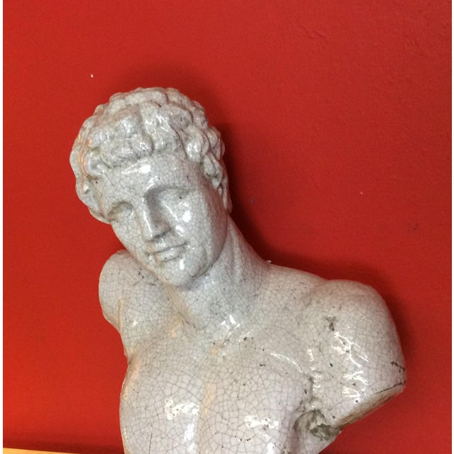 Italian 1960s Vintage Venetian Roman Emperor Glazed Terra Cotta Bust For Sale - Image 3 of 8