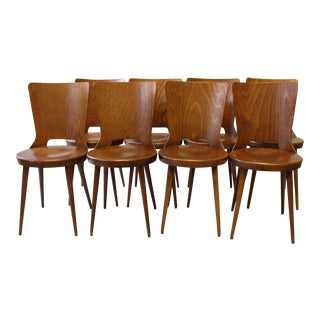 Set of 8 French Bistro Dining Chairs, Circa 1960
