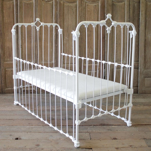 "19th Century Iron Crib Baby Bed 53""D x 29""W x 45""H Bed Height: 18"" Can be used without 1 side rail to be used as a settee..."