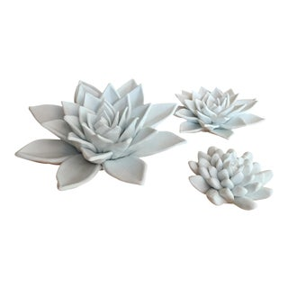 Global Views Decorative White Succulents - Set of 3 For Sale