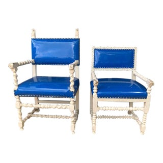 1940s Vintage His and Hers Spanish Colonial Chairs- A Pair For Sale