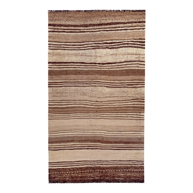 Turkish Kilim Rug With Brown Stripes on Beige Field For Sale