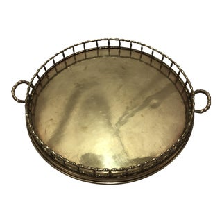 Large Brass Bamboo Style Chinoiserie Tray