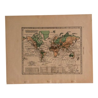 "Antique Geography Map ""The World - the Land - Co-Tidal Lines"" Sheldon & Company 1867 For Sale"