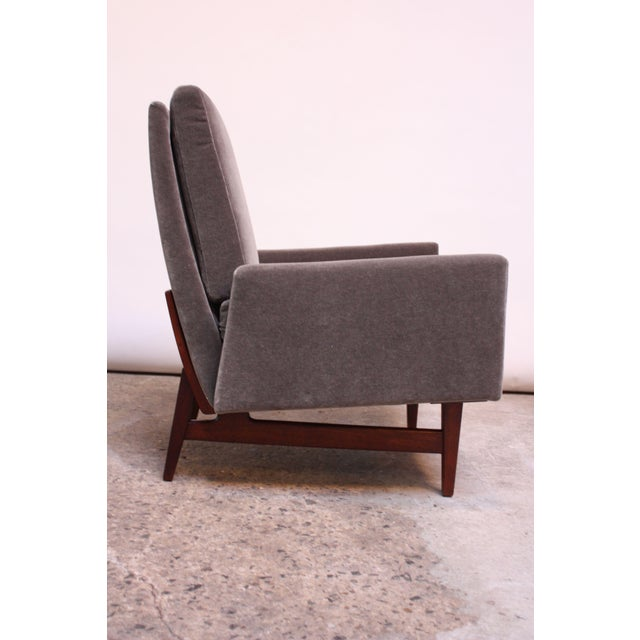 Early Jens Risom Walnut and Mohair Lounge Chair - Image 2 of 11