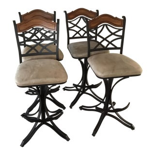 Pastel Furniture-Set of 4 Wrought Iron & Wood Back Swivel Stools For Sale