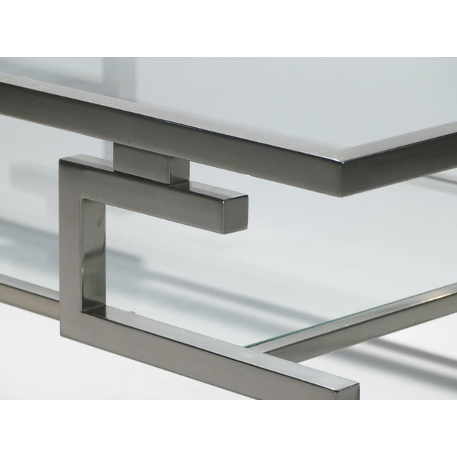 Silver Hollywood Regency Nickel Coffee Table Guy Lefevre for Maison Jansen, 1970s For Sale - Image 8 of 9