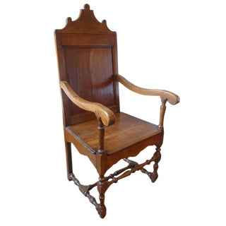 19th Century French Fruitwood Armchair with Branded Crest