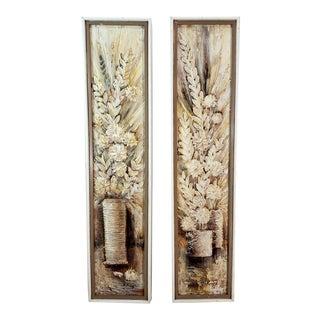 Mid Century Stephen Kaye Original Oil Painting 3d Vase Flowers a Pair For Sale