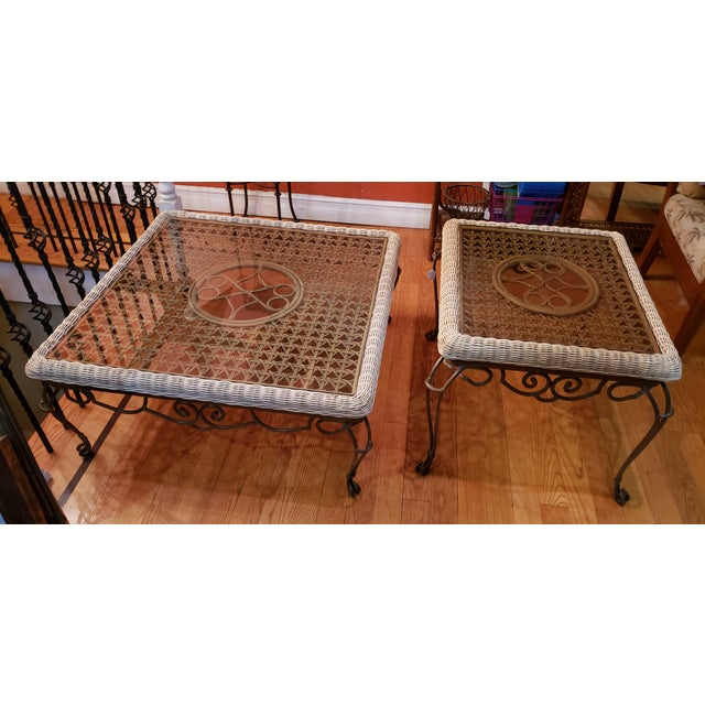 Shabby Chic Shabby Chic Wrought Iron Table Set With Wicker Inlays and Smoked Glass Tops - a Pair For Sale - Image 3 of 13
