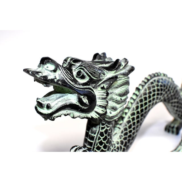 """Bronze Dragon With Fire Ball 11.5"""" Wide For Sale - Image 11 of 13"""