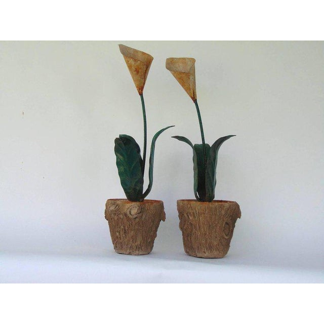 Stunning very similar pair of decorative tole peinte calla lilies in concrete faux bois jardinières, one slightly taller...