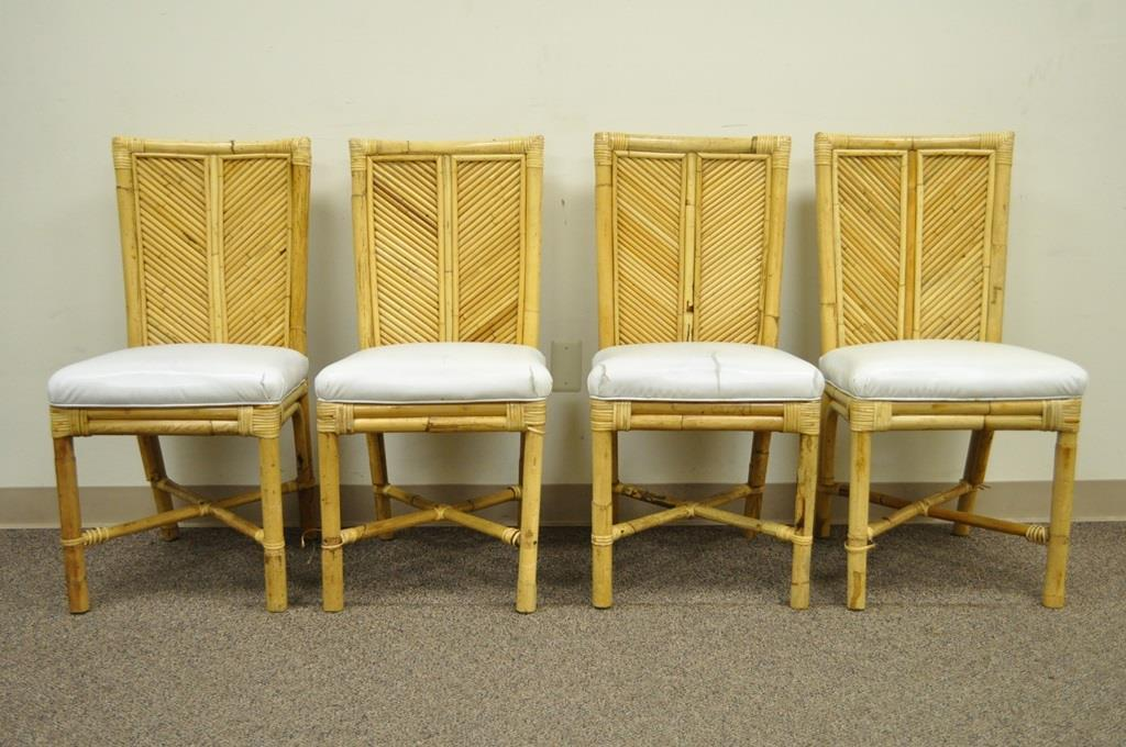 Vintage Hollywood Regency Bamboo Rattan Dining Set Table 4 Chairs McGuire  Style   Image 4 Of