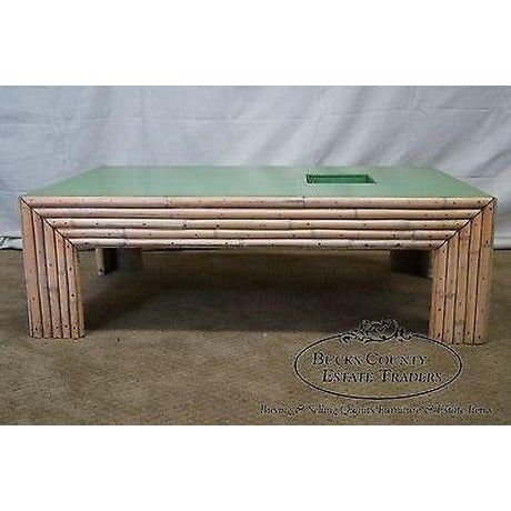 Vintage Art Deco Rattan Bamboo Coffee Table For Sale - Image 4 of 13