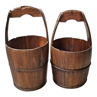 Pair of 19c Oak and Iron Banded Water Buckets or Pails For Sale