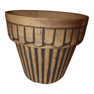Antique Art Deco Terracotta Black Stripe Imprinted Flower Pot For Sale