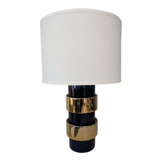 Contemporary Navy/Gold Drum Shade Table Lamp For Sale