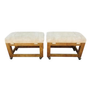 Drexel Tan Suede Upholstered Stools - A Pair