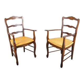 Vintage French Provincial Maple Armchairs W/ Rush Seats - a Pair For Sale
