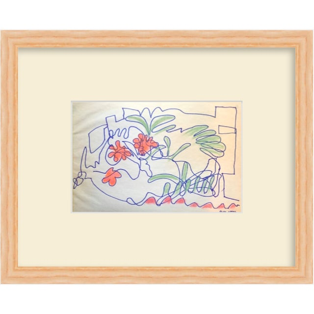 1950s San Francisco Abstract Expressionism Ink and Pastel Contour Drawing For Sale In New York - Image 6 of 7