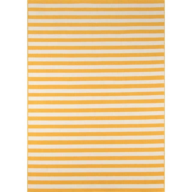 "Momeni Baja Yellow Indoor/Outdoor Rug - 7'10"" X 10'10"" For Sale"
