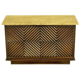 Heritage Henredon Reeded Chevron Front Cabinet For Sale