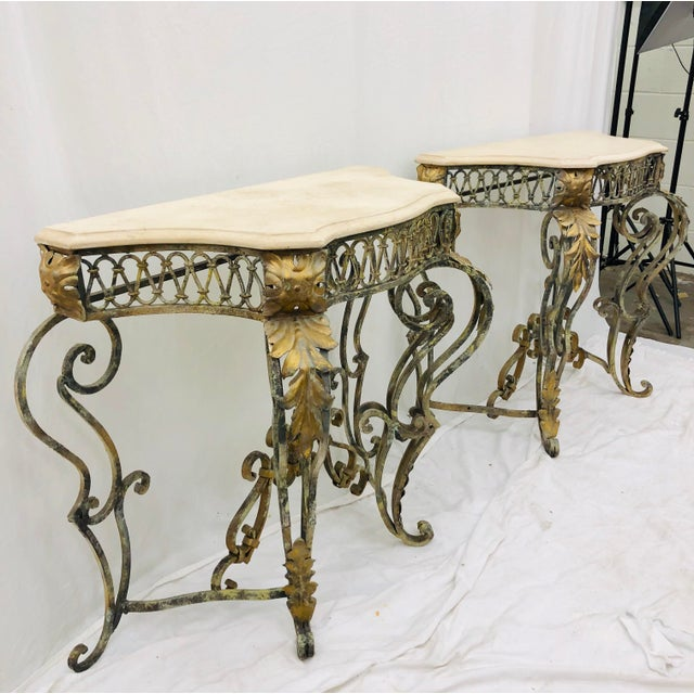 Early 20th Century Pair Vintage Wrought Iron & Stone Side Tables For Sale - Image 5 of 11
