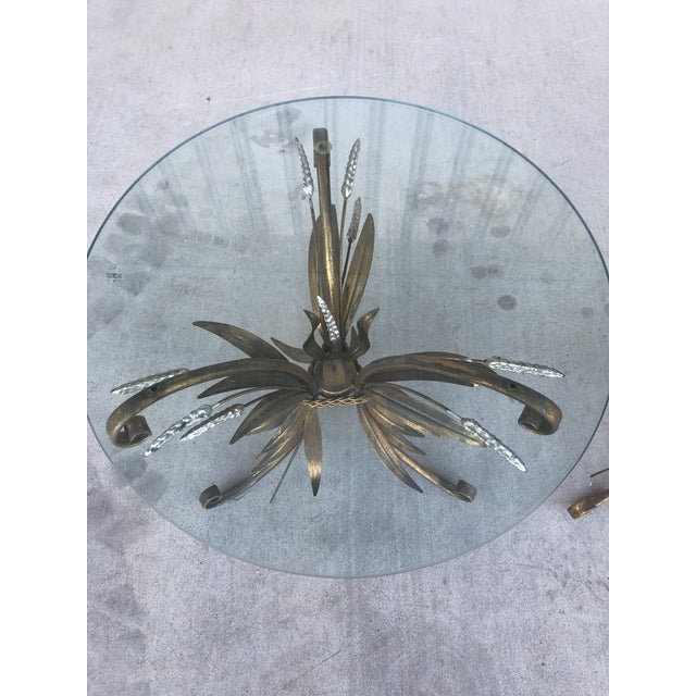 Midcentury Italian Gold Leaf Iron Side Tables - Pair For Sale - Image 6 of 7