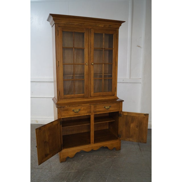 Ethan Allen Circa 1776 Collection Maple China Cabinet Cupboard For Sale - Image 10 of 10