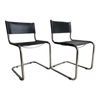 Vintage Chrome Dining Chairs in the Mart Stam Style (A) - a Pair For Sale