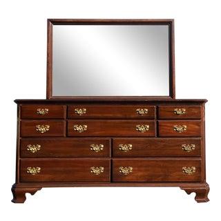 Ethan Allen Georgian Court Cherry Dresser & Mirror For Sale