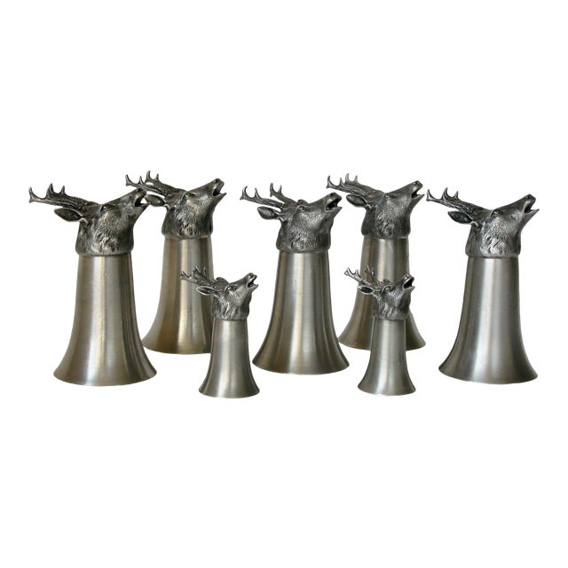 Stag Pewter Stirrup Cups - Set of 7 For Sale