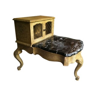 Antique 1940's–1950's Small Step Table with Marble For Sale