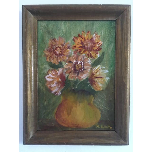 Lovely painting on board of a bouquet of pink flowers in a vase. Pretty green/pink/gold palette. Signed. In good vintage...