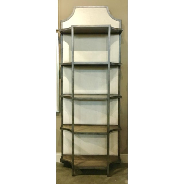 2010s Organic Modern Sojourn Linen Back Etagere For Sale - Image 5 of 5