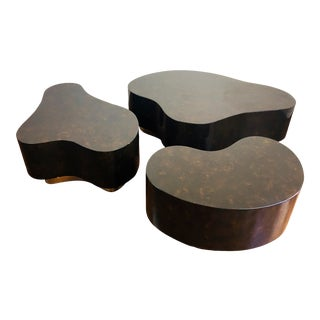 1970s Karl Springer Style Biomorphic Freeform Lacquered & Brass Tables, Set of 3 For Sale