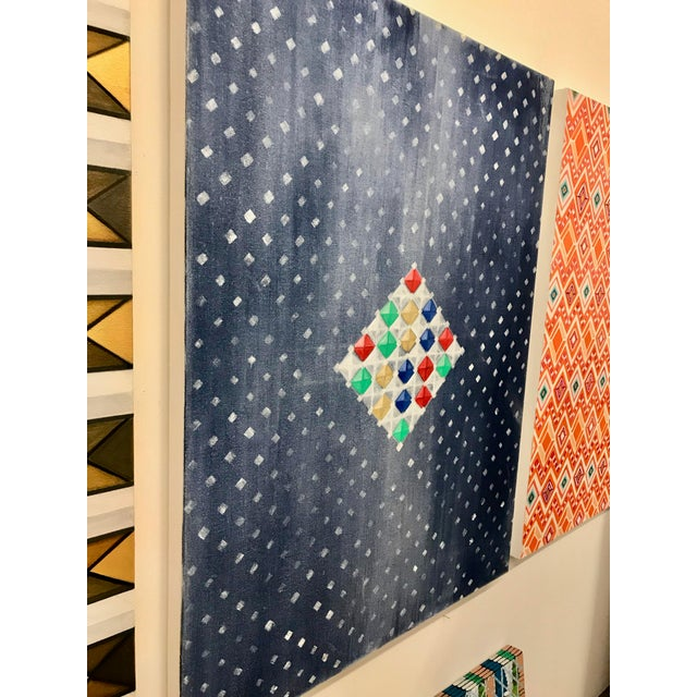 Abstract Multi-Colored Geometric Diamond Oil Painting For Sale - Image 3 of 8