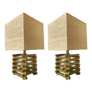 1970s Brass Cage Lamps by Sciolari, Italy - a Pair For Sale
