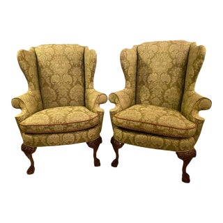 Chippendale Ball and Claw Wingback Chairs With Fine Scalamandre Upholstery, Pair For Sale